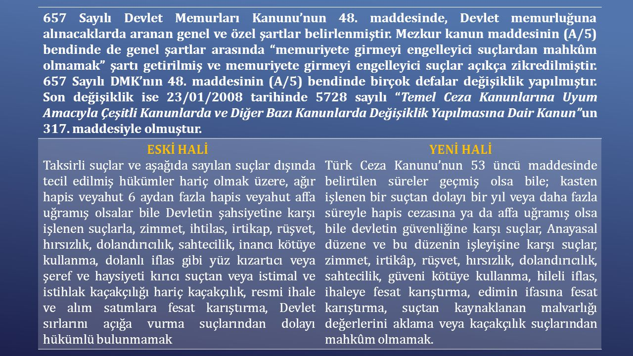 657 Sayılı Devlet Memurları Kanunu'nun 48