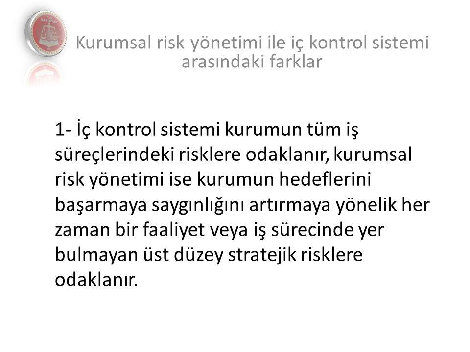 Kurumsal risk yönetimi ile iç kontrol sistemi arasındaki farklar