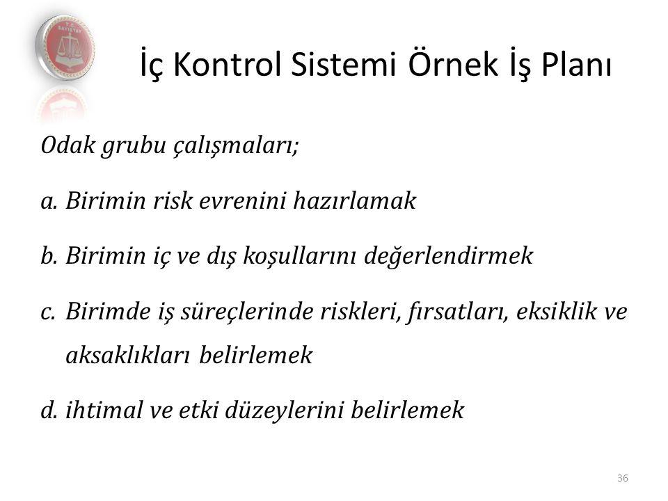 İç Kontrol Sistemi Örnek İş Planı