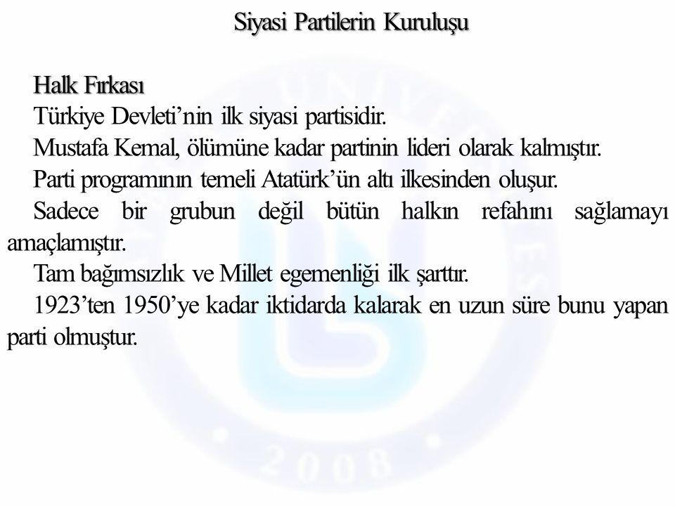 Siyasi Partilerin Kuruluşu Halk Fırkası Türkiye Devleti'nin ilk siyasi partisidir.