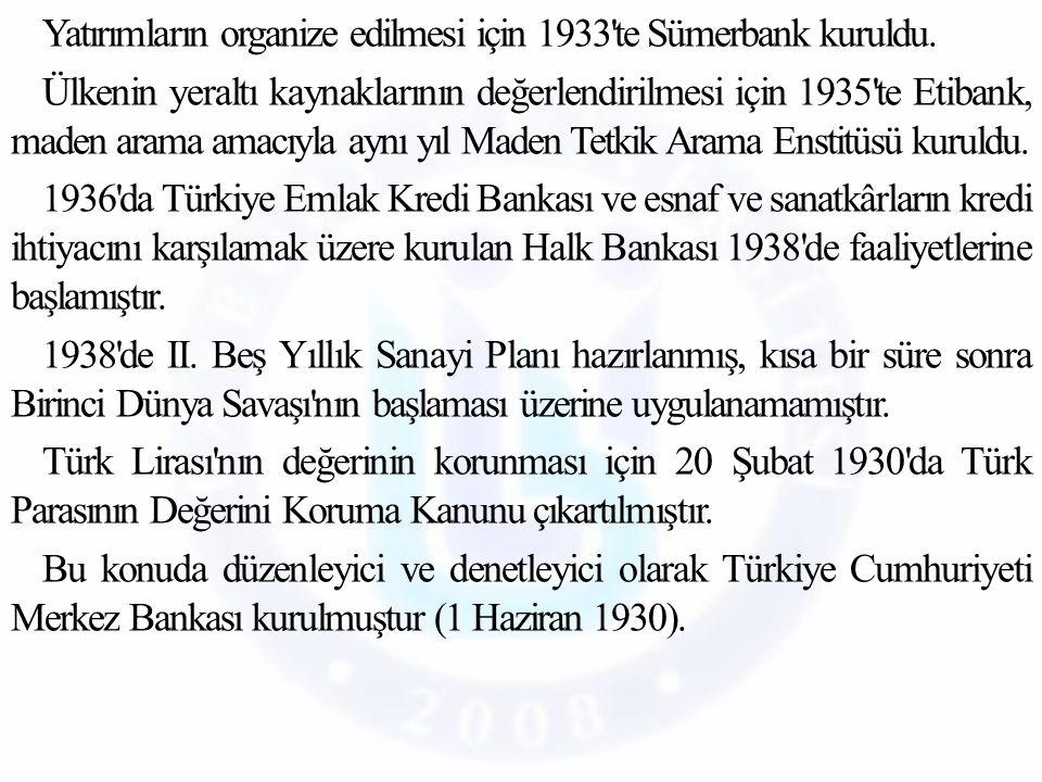 Yatırımların organize edilmesi için 1933 te Sümerbank kuruldu