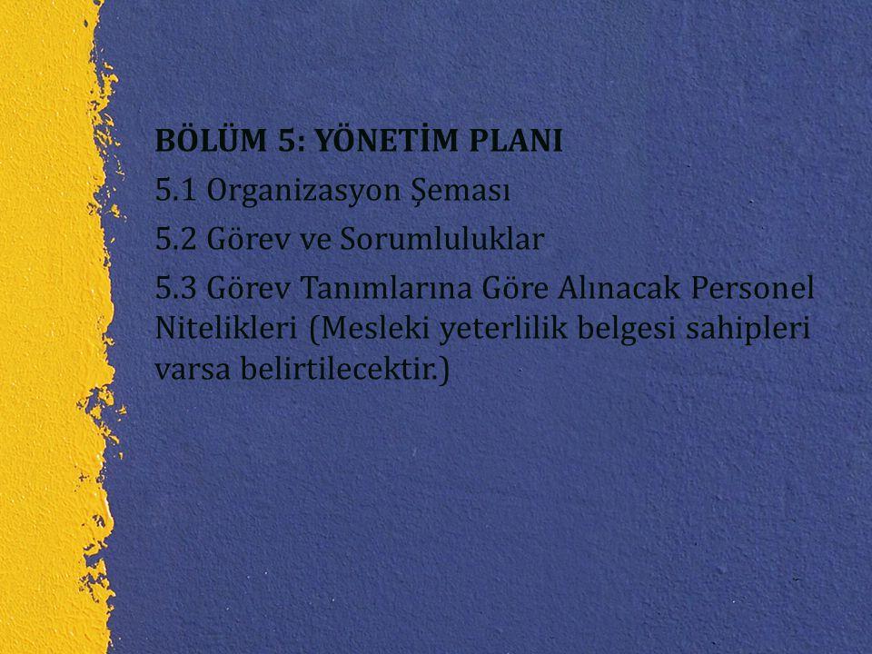 BÖLÜM 5: YÖNETİM PLANI 5. 1 Organizasyon Şeması 5