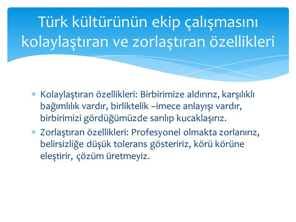 Türk kültürünün ekip çalışmasını kolaylaştıran ve zorlaştıran özellikleri