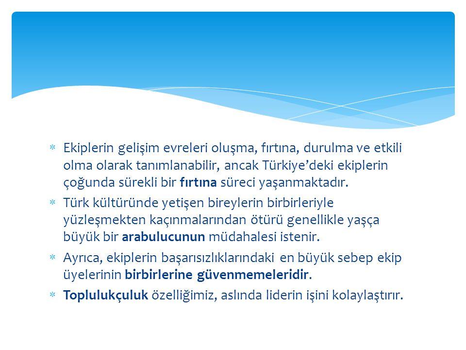 Ekiplerin gelişim evreleri oluşma, fırtına, durulma ve etkili olma olarak tanımlanabilir, ancak Türkiye'deki ekiplerin çoğunda sürekli bir fırtına süreci yaşanmaktadır.