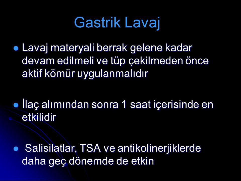 Gastrik Lavaj Lavaj materyali berrak gelene kadar devam edilmeli ve tüp çekilmeden önce aktif kömür uygulanmalıdır.