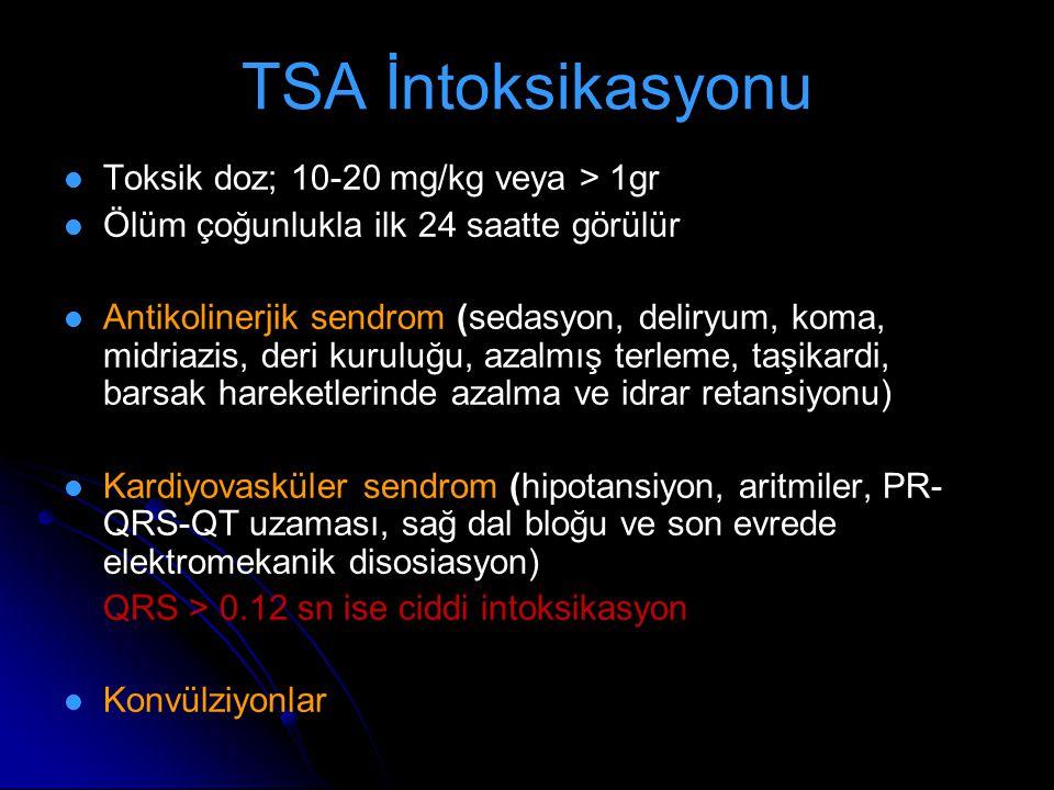 TSA İntoksikasyonu Toksik doz; 10-20 mg/kg veya > 1gr