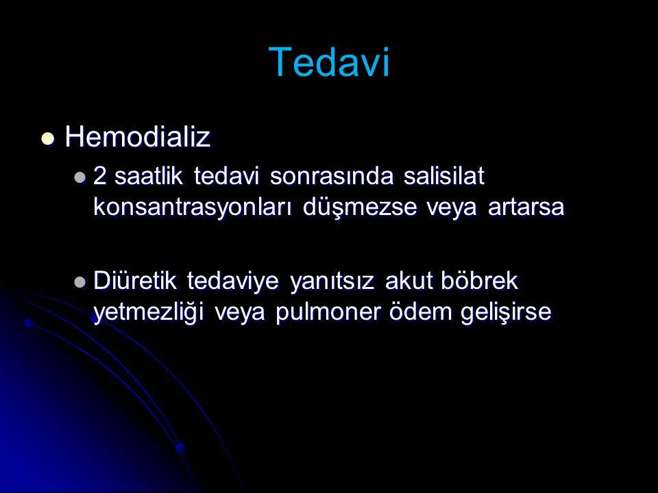 Tedavi Hemodializ. 2 saatlik tedavi sonrasında salisilat konsantrasyonları düşmezse veya artarsa.