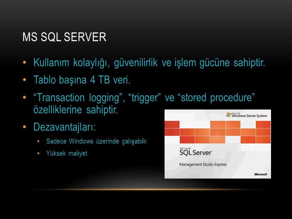 MS SQL Server Kullanım kolaylığı, güvenilirlik ve işlem gücüne sahiptir. Tablo başına 4 TB veri.