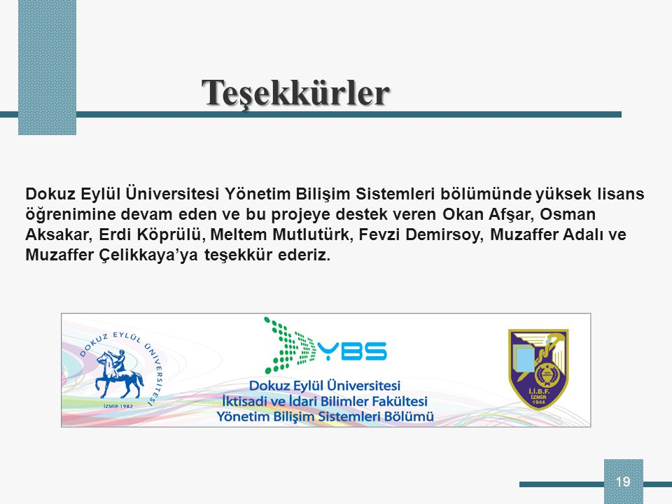 Teşekkürler Dokuz Eylül Üniversitesi Yönetim Bilişim Sistemleri bölümünde yüksek lisans.