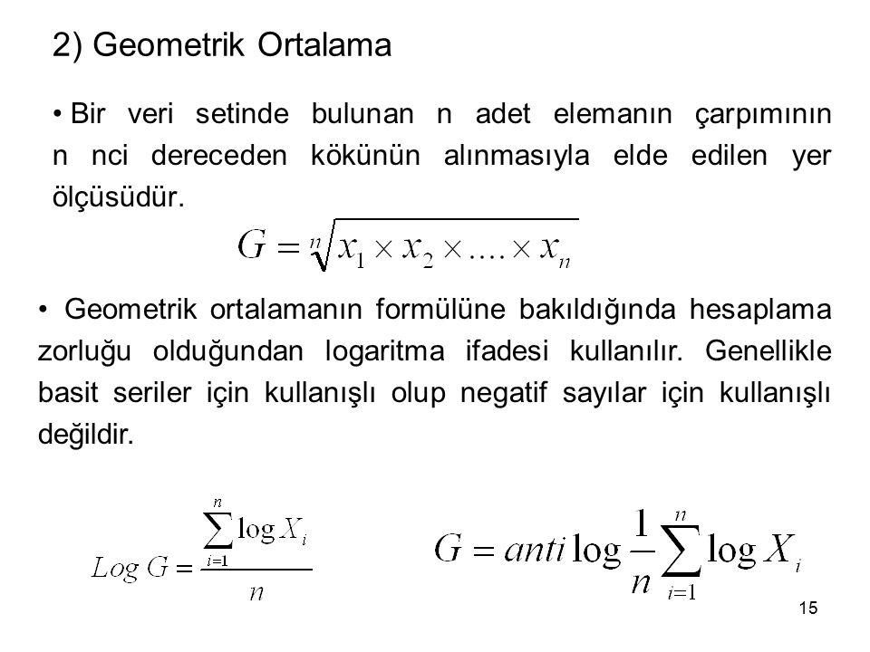 2) Geometrik Ortalama Bir veri setinde bulunan n adet elemanın çarpımının n nci dereceden kökünün alınmasıyla elde edilen yer ölçüsüdür.