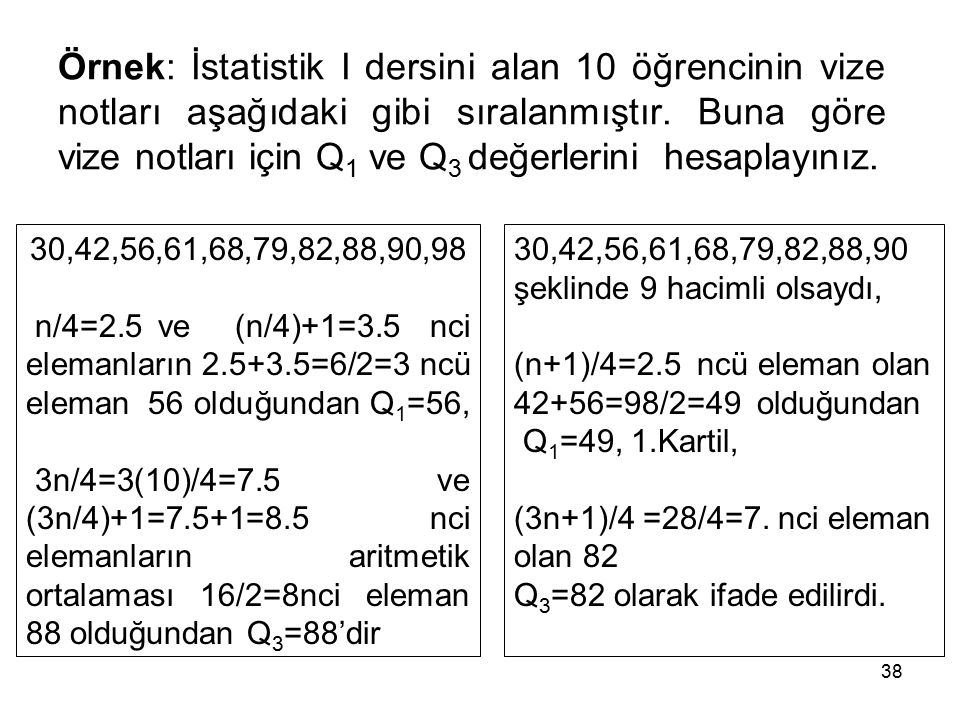 Örnek: İstatistik I dersini alan 10 öğrencinin vize notları aşağıdaki gibi sıralanmıştır. Buna göre vize notları için Q1 ve Q3 değerlerini hesaplayınız.
