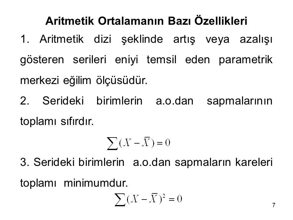 Aritmetik Ortalamanın Bazı Özellikleri