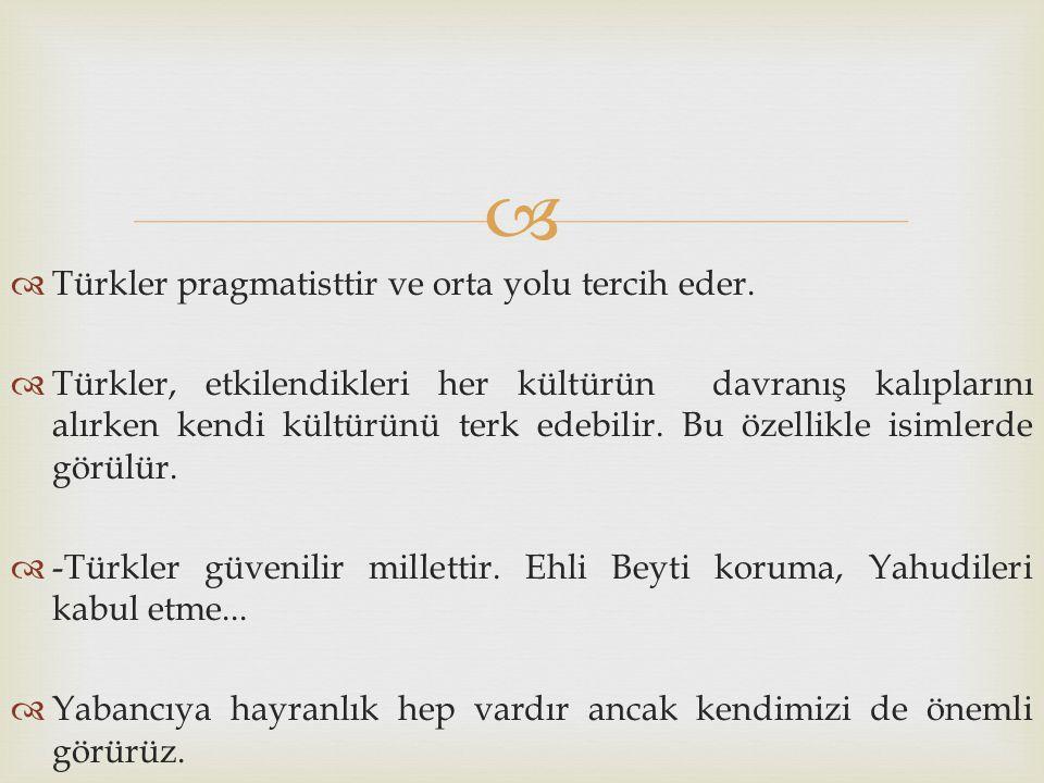 Türkler pragmatisttir ve orta yolu tercih eder.