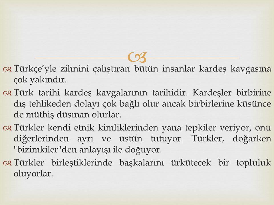 Türkçe'yle zihnini çalıştıran bütün insanlar kardeş kavgasına çok yakındır.