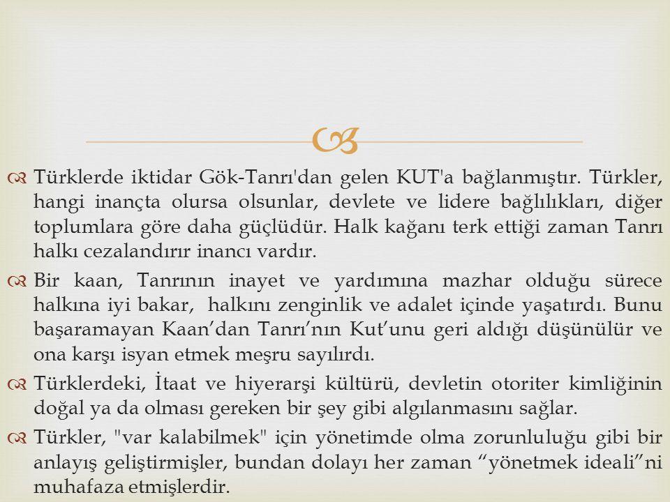 Türklerde iktidar Gök-Tanrı dan gelen KUT a bağlanmıştır