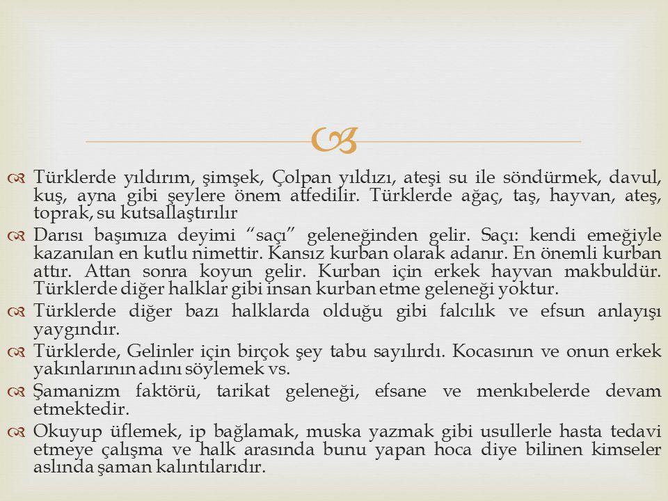 Türklerde yıldırım, şimşek, Çolpan yıldızı, ateşi su ile söndürmek, davul, kuş, ayna gibi şeylere önem atfedilir. Türklerde ağaç, taş, hayvan, ateş, toprak, su kutsallaştırılır