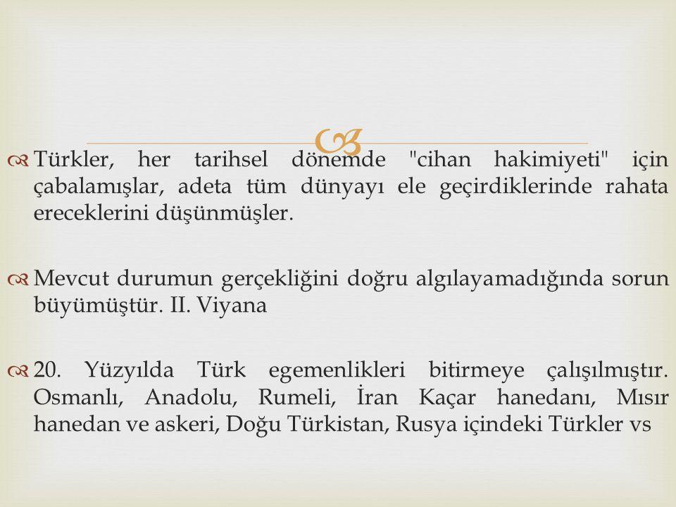 Türkler, her tarihsel dönemde cihan hakimiyeti için çabalamışlar, adeta tüm dünyayı ele geçirdiklerinde rahata ereceklerini düşünmüşler.