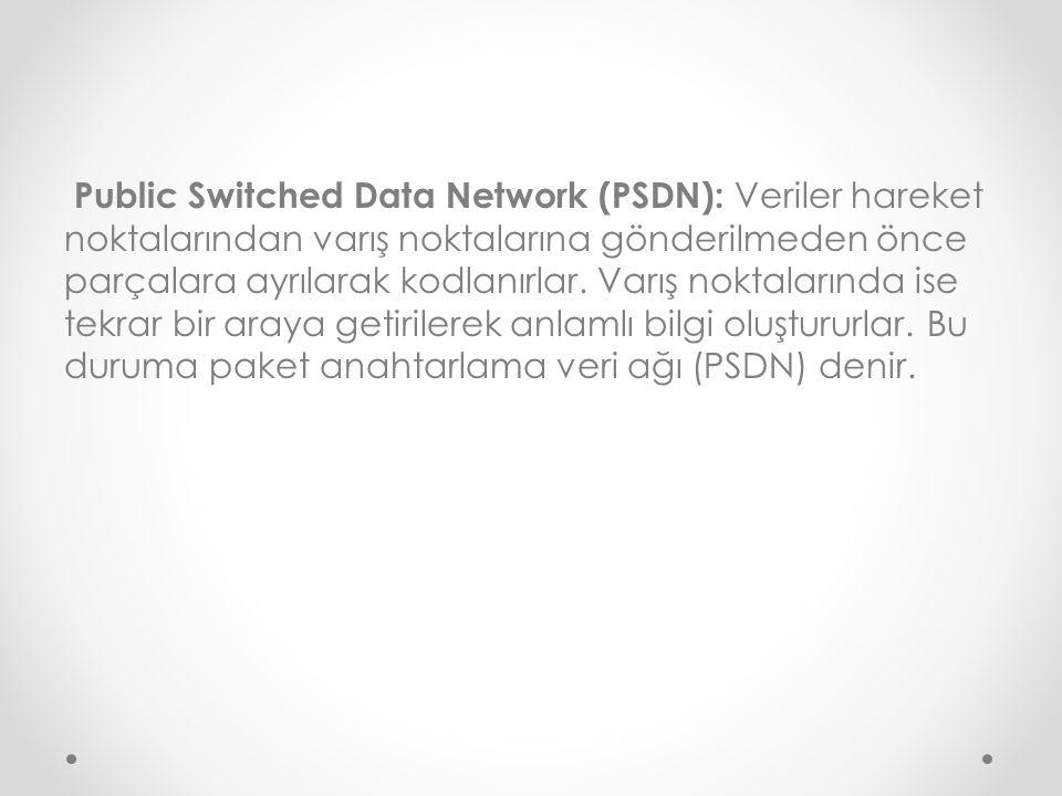 Public Switched Data Network (PSDN): Veriler hareket noktalarından varış noktalarına gönderilmeden önce parçalara ayrılarak kodlanırlar.