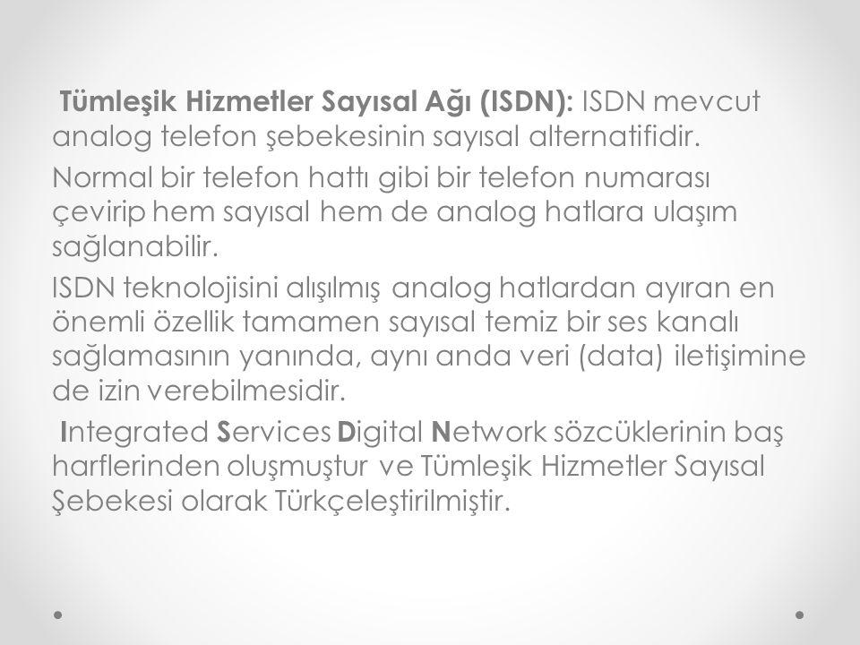 Tümleşik Hizmetler Sayısal Ağı (ISDN): ISDN mevcut analog telefon şebekesinin sayısal alternatifidir.