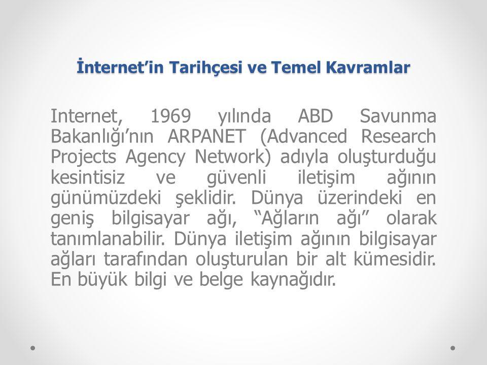 İnternet'in Tarihçesi ve Temel Kavramlar