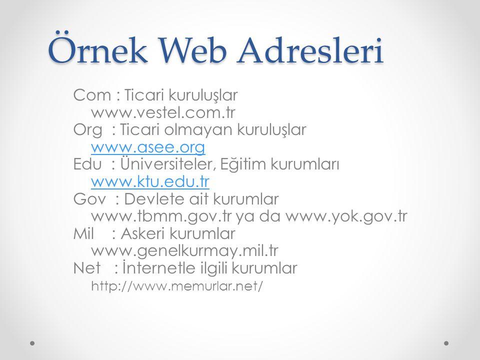 Örnek Web Adresleri Com : Ticari kuruluşlar www.vestel.com.tr