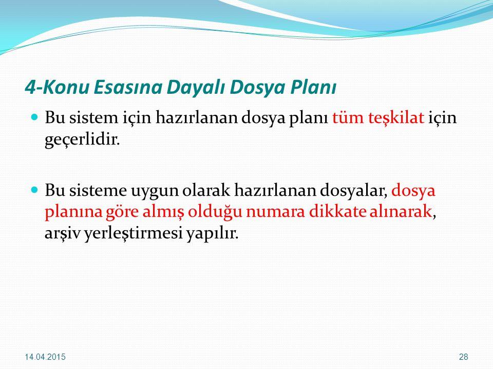 4-Konu Esasına Dayalı Dosya Planı
