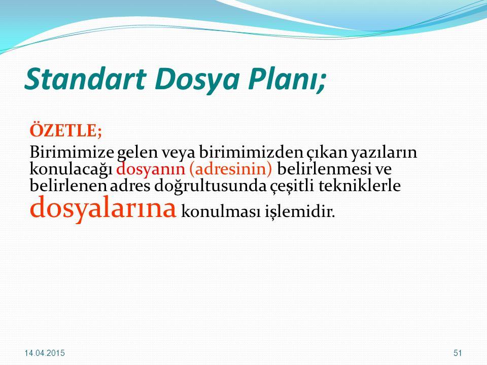 Standart Dosya Planı;