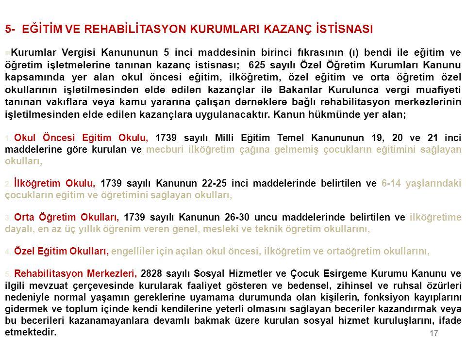 5- EĞİTİM VE REHABİLİTASYON KURUMLARI KAZANÇ İSTİSNASI