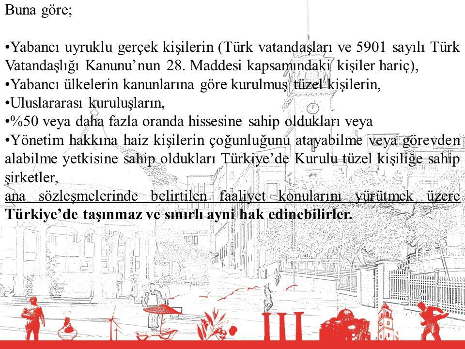 Buna göre; Yabancı uyruklu gerçek kişilerin (Türk vatandaşları ve 5901 sayılı Türk Vatandaşlığı Kanunu'nun 28. Maddesi kapsamındaki kişiler hariç),