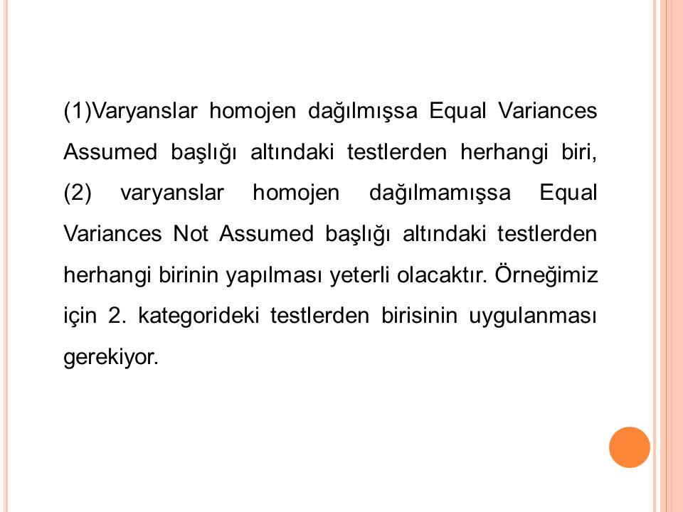 (1)Varyanslar homojen dağılmışsa Equal Variances Assumed başlığı altındaki testlerden herhangi biri, (2) varyanslar homojen dağılmamışsa Equal Variances Not Assumed başlığı altındaki testlerden herhangi birinin yapılması yeterli olacaktır.