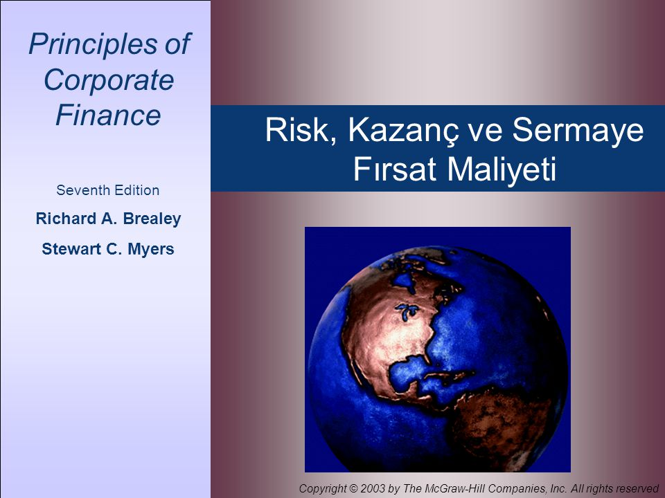 Risk, Kazanç ve Sermaye Fırsat Maliyeti