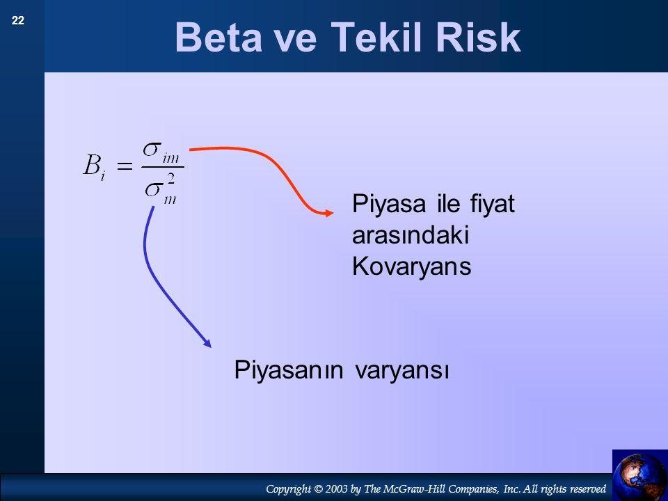 Beta ve Tekil Risk Piyasa ile fiyat arasındaki Kovaryans