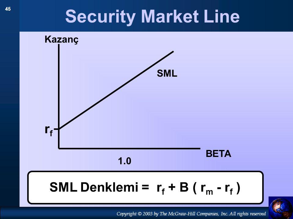 Security Market Line rf SML Denklemi = rf + B ( rm - rf ) Kazanç SML