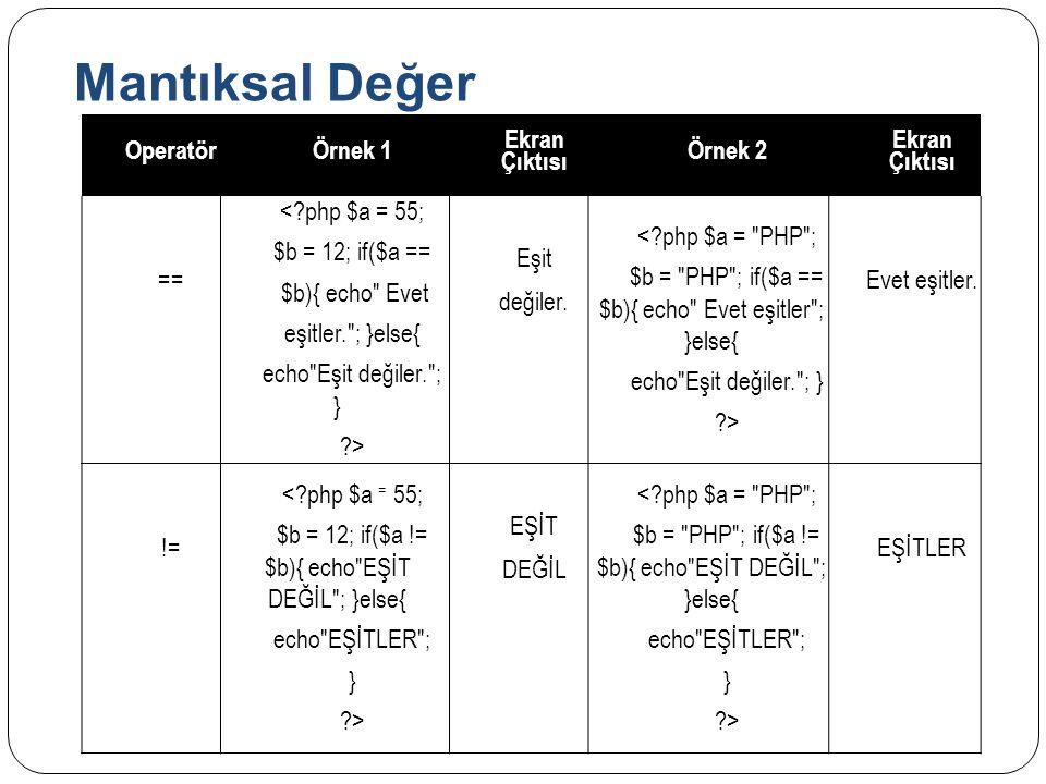Mantıksal Değer Operatör Örnek 1 Ekran Çıktısı Örnek 2 ==