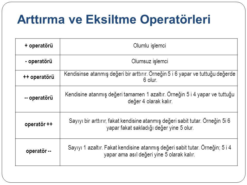 Arttırma ve Eksiltme Operatörleri