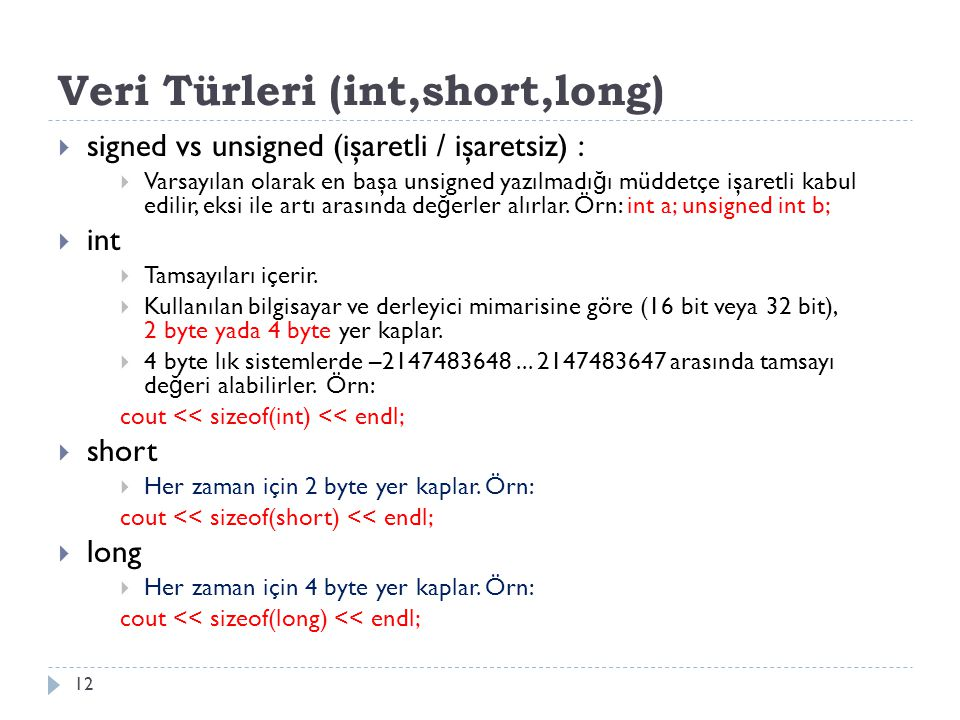 Veri Türleri (int,short,long)