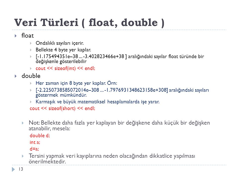 Veri Türleri ( float, double )