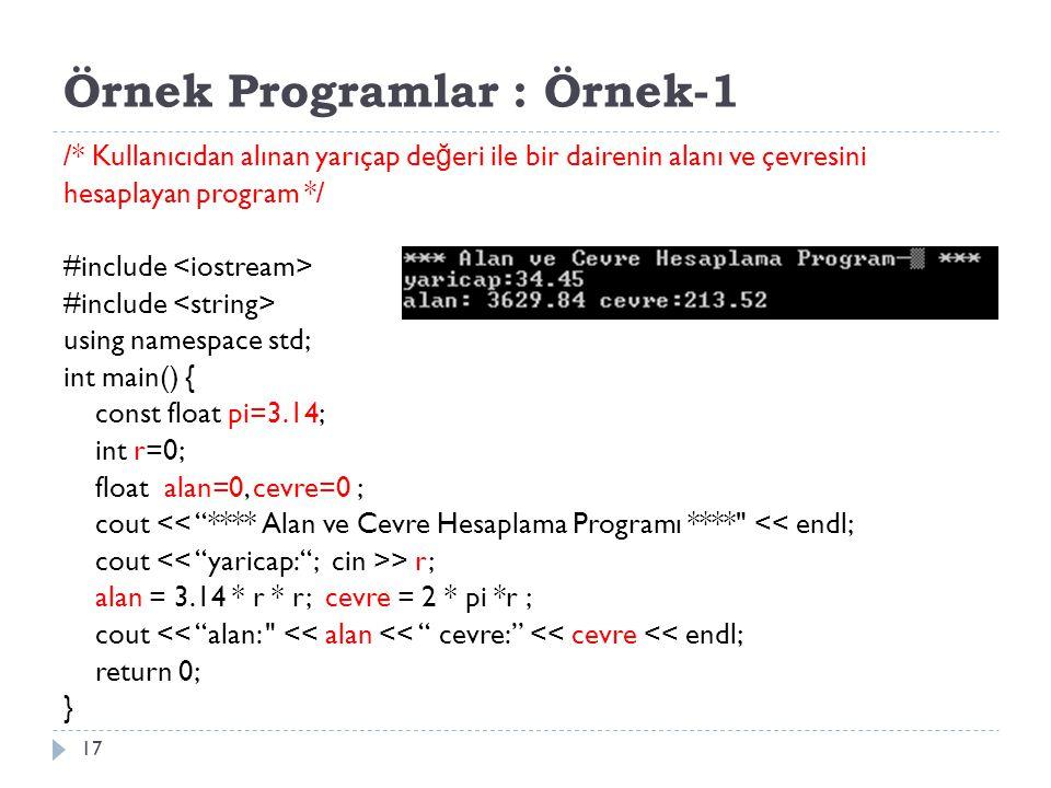 Örnek Programlar : Örnek-1