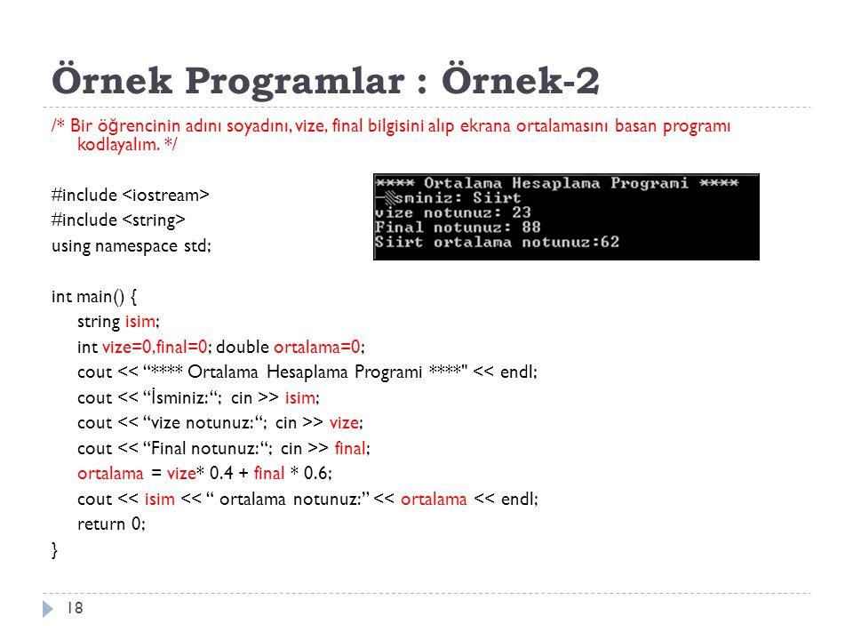 Örnek Programlar : Örnek-2
