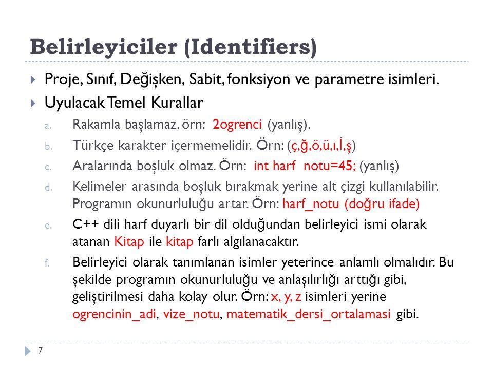 Belirleyiciler (Identifiers)