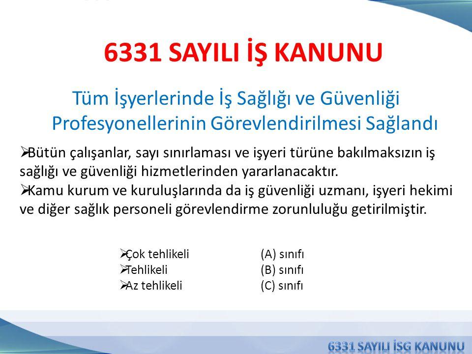 6331 SAYILI İŞ KANUNU Tüm İşyerlerinde İş Sağlığı ve Güvenliği Profesyonellerinin Görevlendirilmesi Sağlandı.