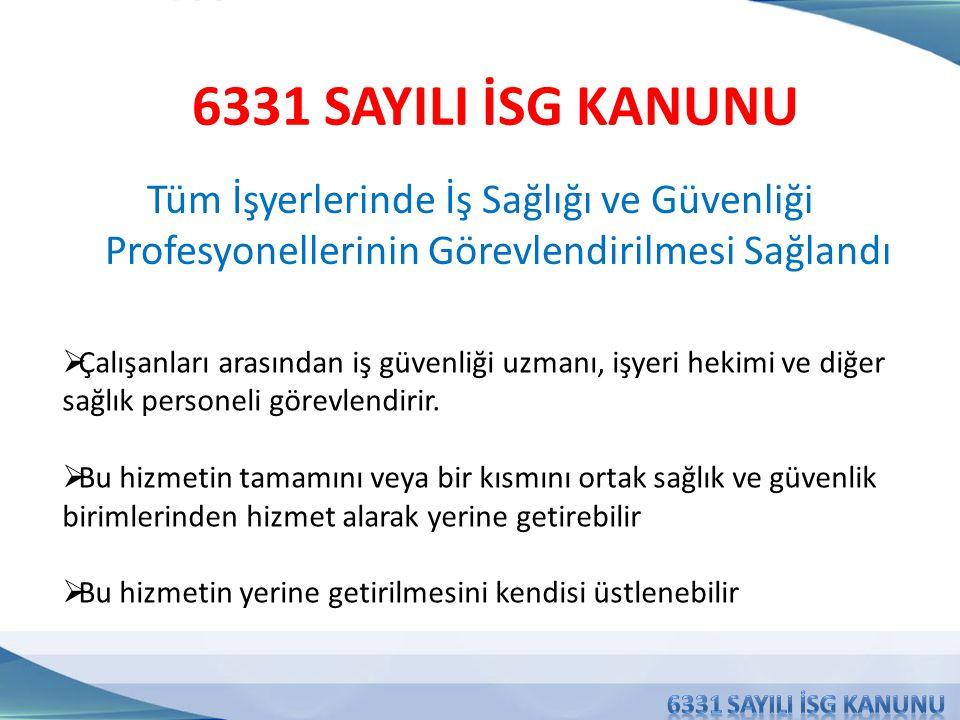 6331 SAYILI İSG KANUNU Tüm İşyerlerinde İş Sağlığı ve Güvenliği Profesyonellerinin Görevlendirilmesi Sağlandı.