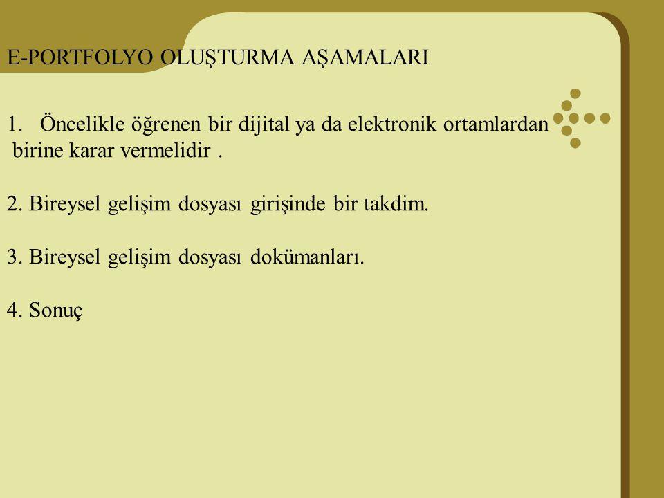 E-PORTFOLYO OLUŞTURMA AŞAMALARI