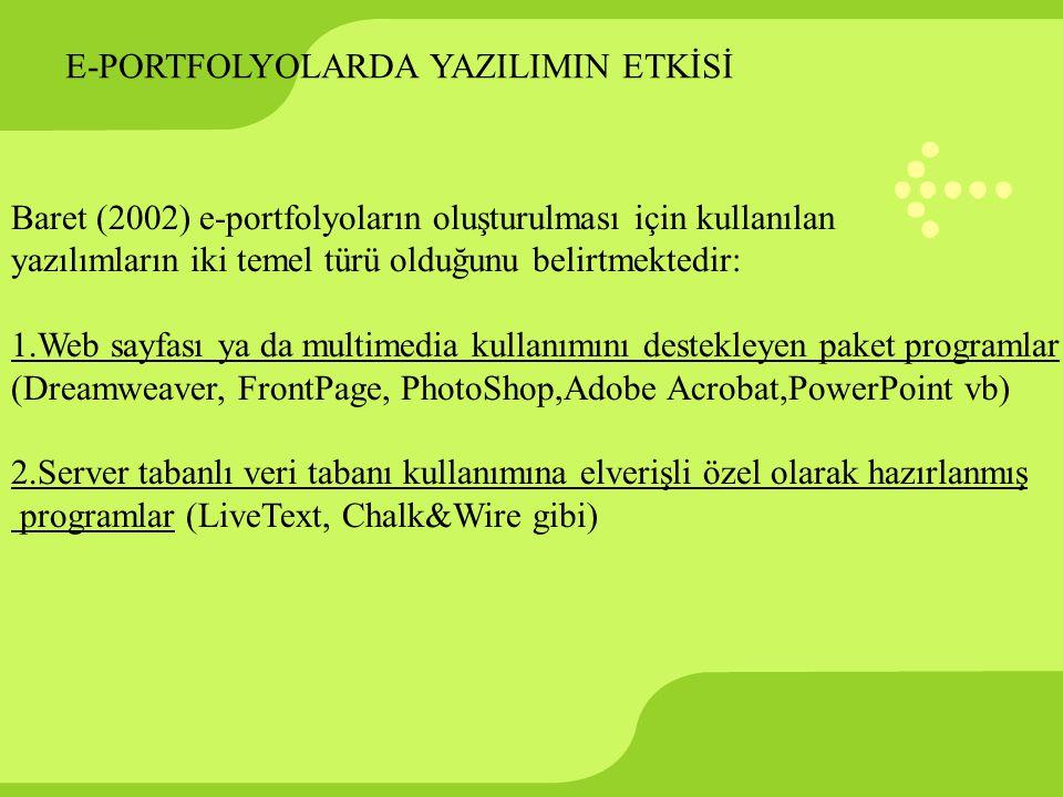 E-PORTFOLYOLARDA YAZILIMIN ETKİSİ