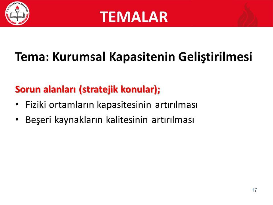 Tema: Kurumsal Kapasitenin Geliştirilmesi