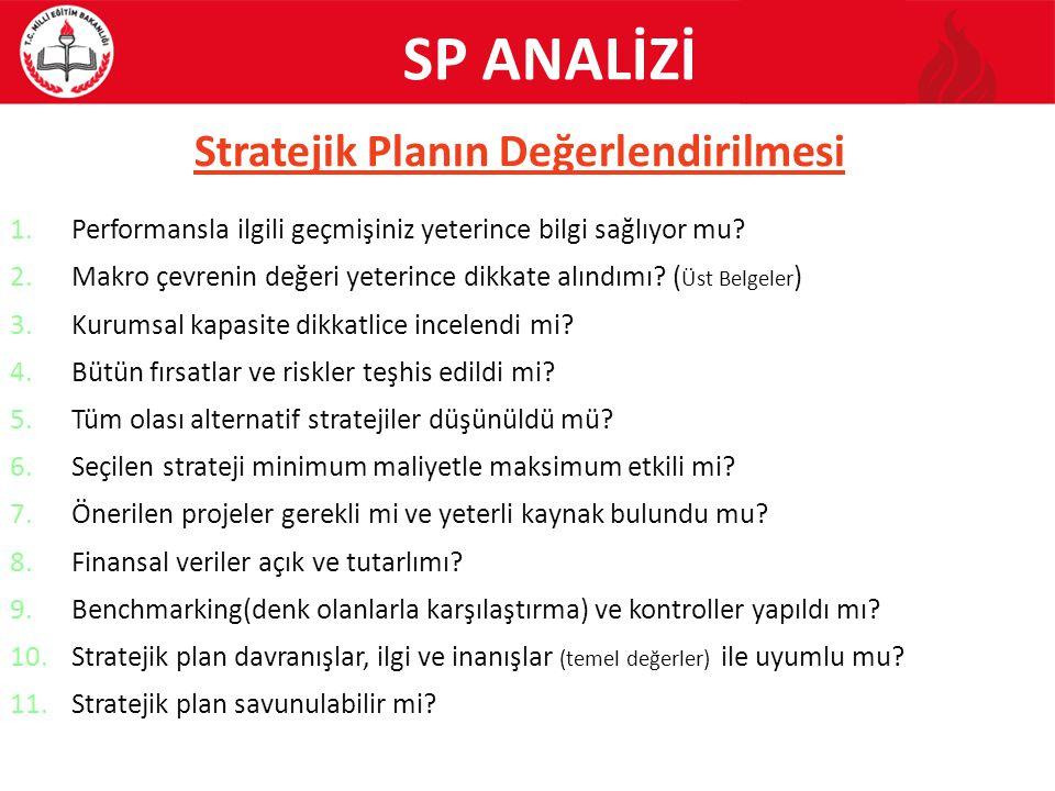 Stratejik Planın Değerlendirilmesi