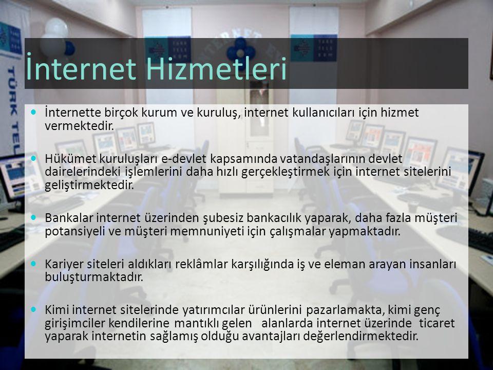 İnternet Hizmetleri İnternette birçok kurum ve kuruluş, internet kullanıcıları için hizmet vermektedir.