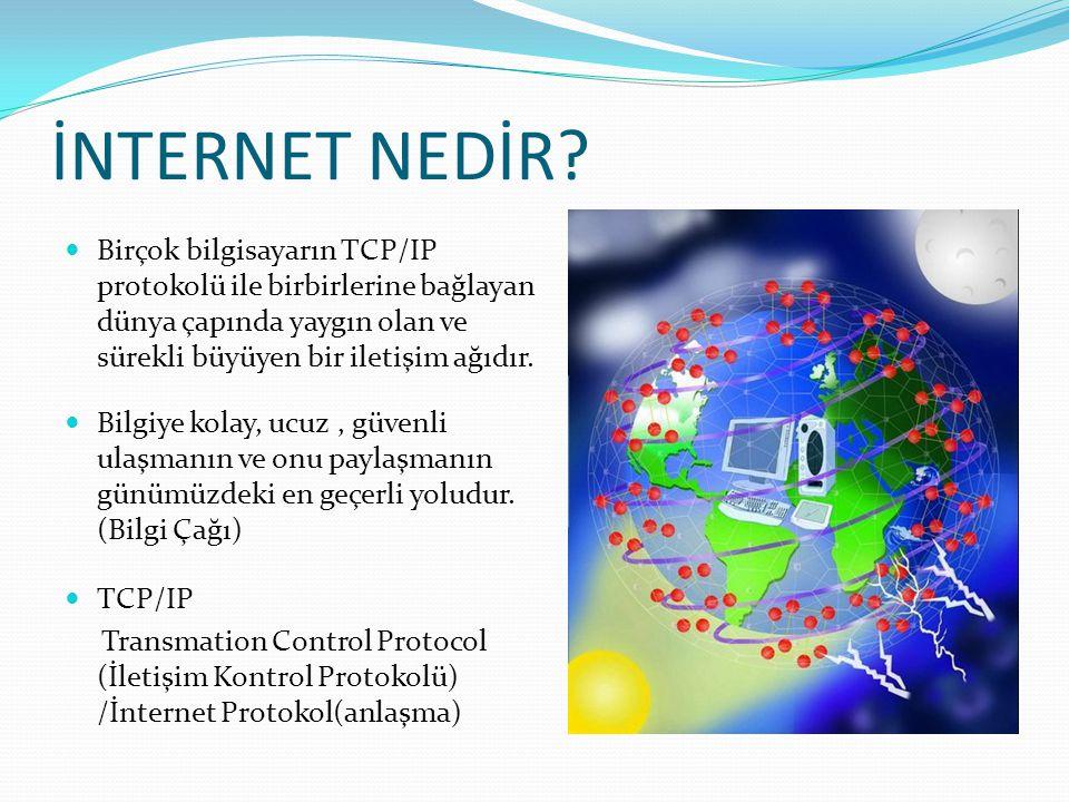 İNTERNET NEDİR Birçok bilgisayarın TCP/IP protokolü ile birbirlerine bağlayan dünya çapında yaygın olan ve sürekli büyüyen bir iletişim ağıdır.