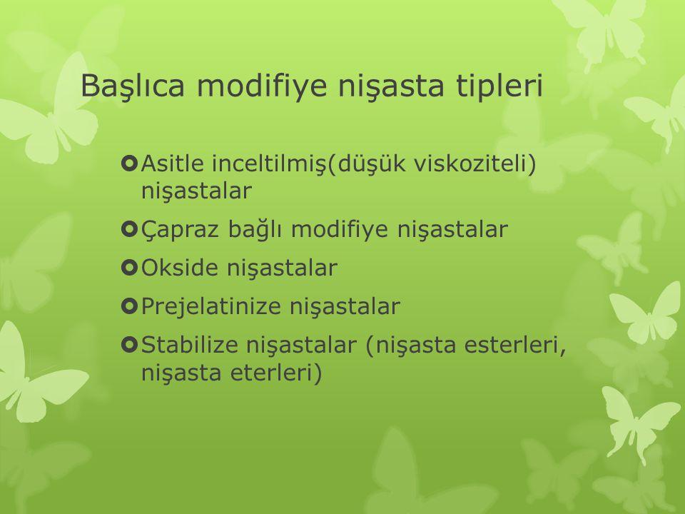 Başlıca modifiye nişasta tipleri