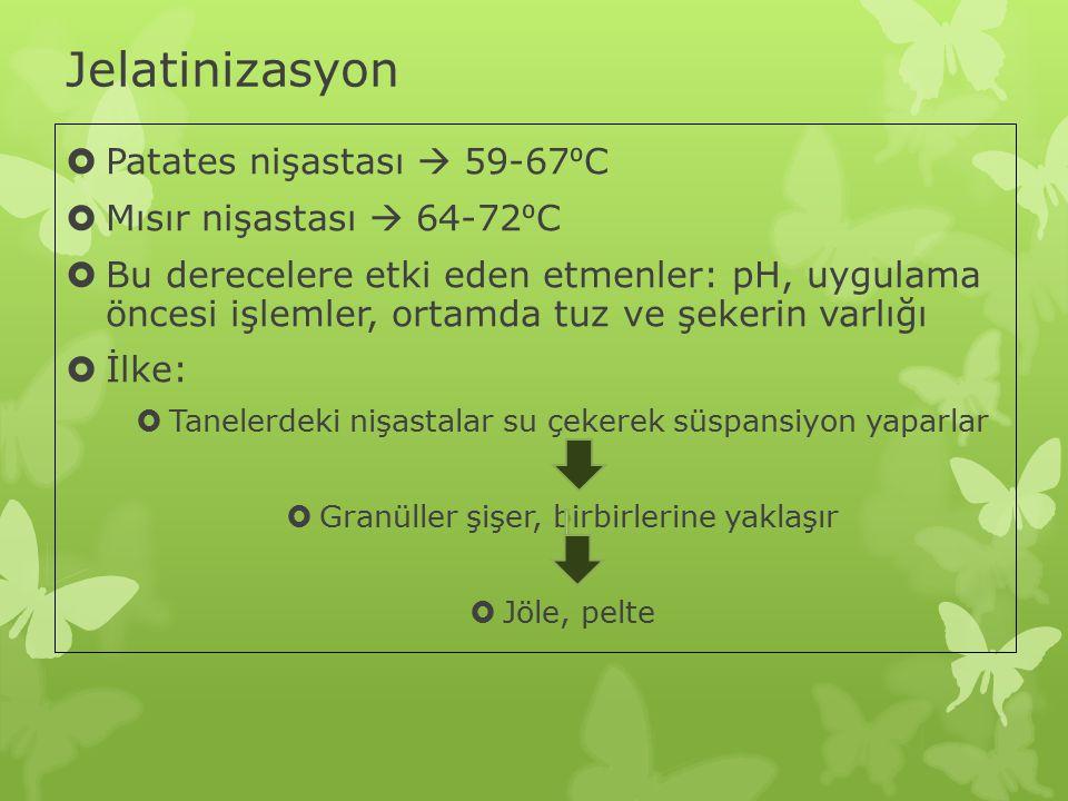 Jelatinizasyon Patates nişastası  59-67⁰C Mısır nişastası  64-72⁰C
